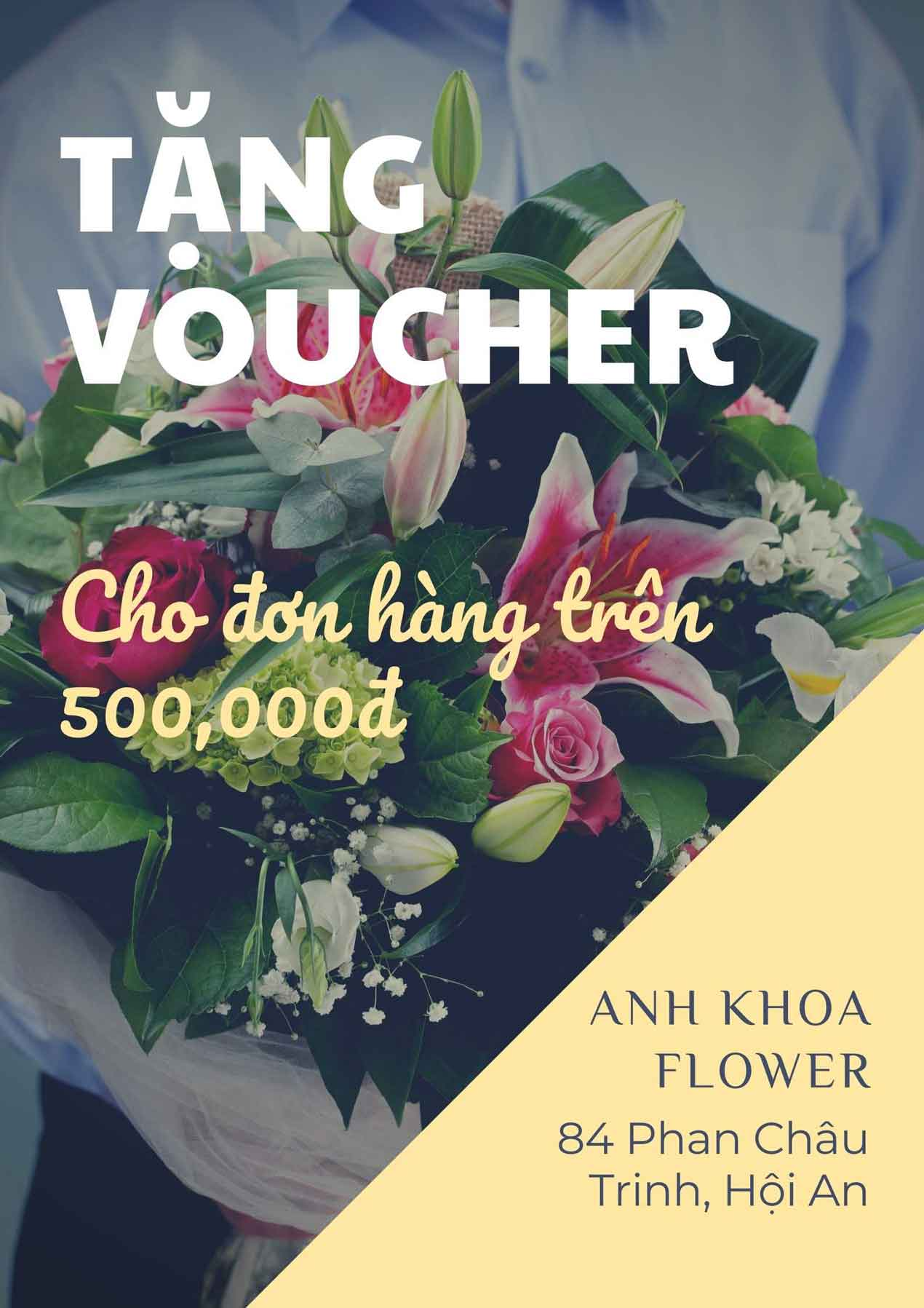 Tặng voucher khi đặt hoa tươi