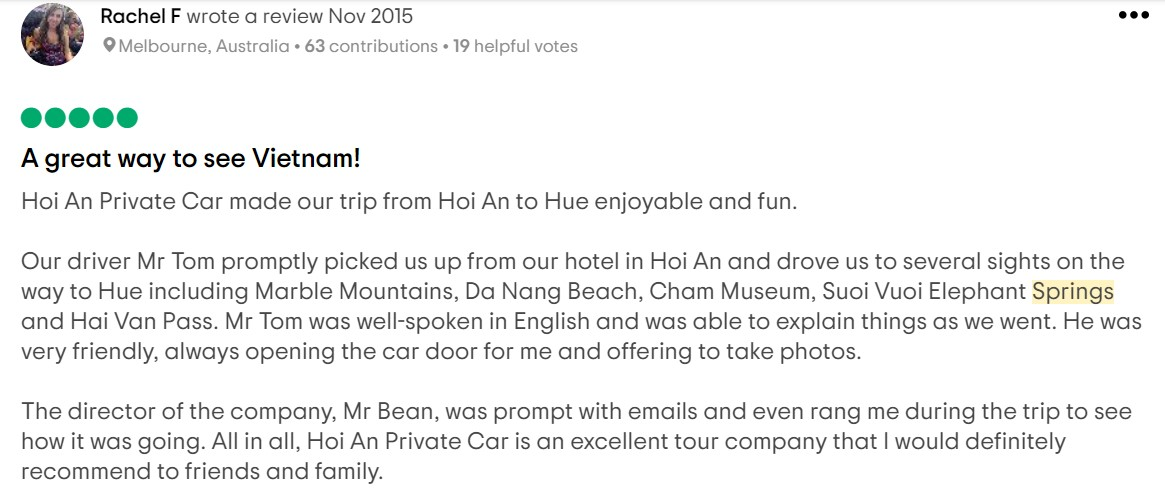 guest review booked hoi an to hot spring park by car