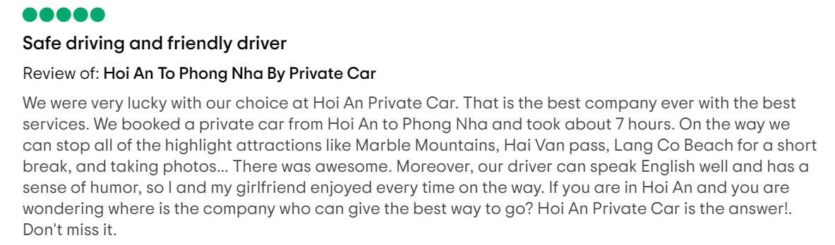 guest review booked hoi an to tam thanh by car