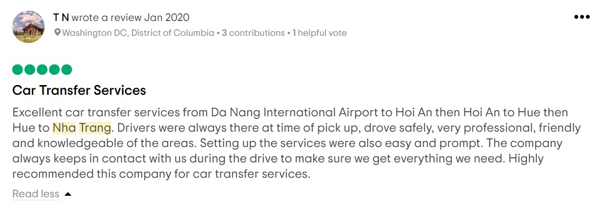 guest review booked transfer hoi an to nha trang by car