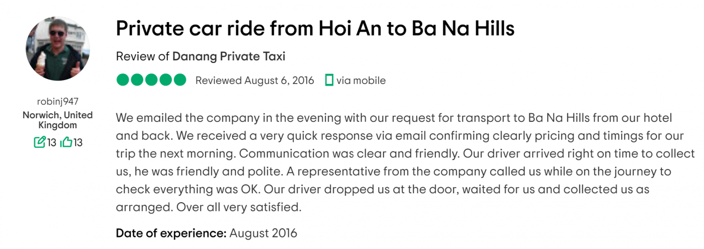 review hoi an to ba na hills