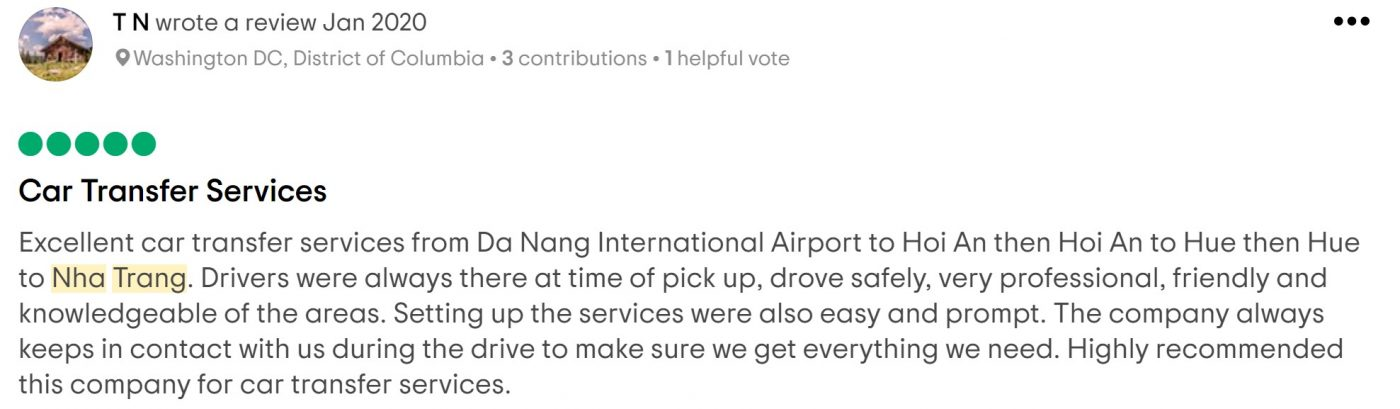 review of guest booked the transfer from hoi an to nha trang by car